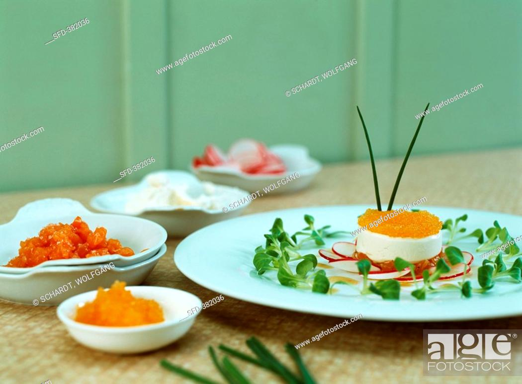 Stock Photo: Char tatar with whitefish mousse and whitefish caviar.