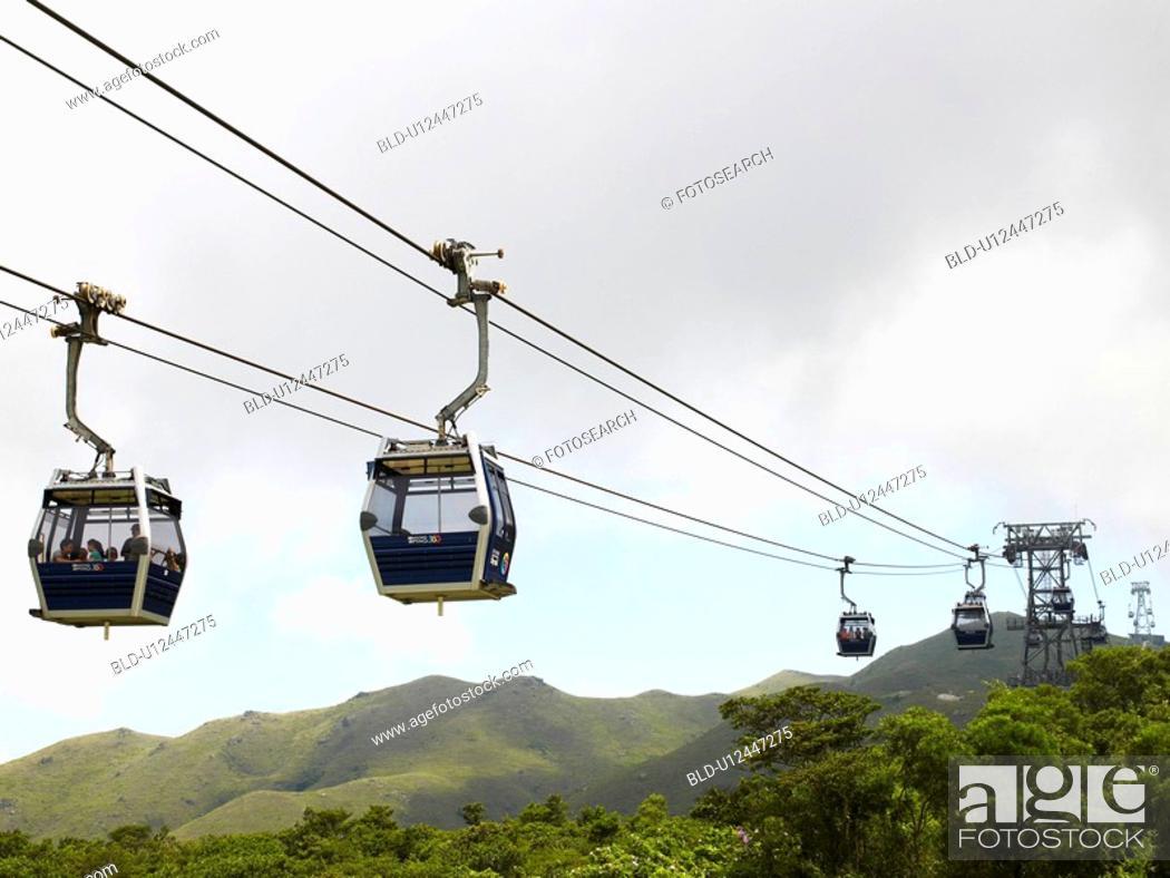 Stock Photo: Cable cars on Lantau Island in Hong Kong China.