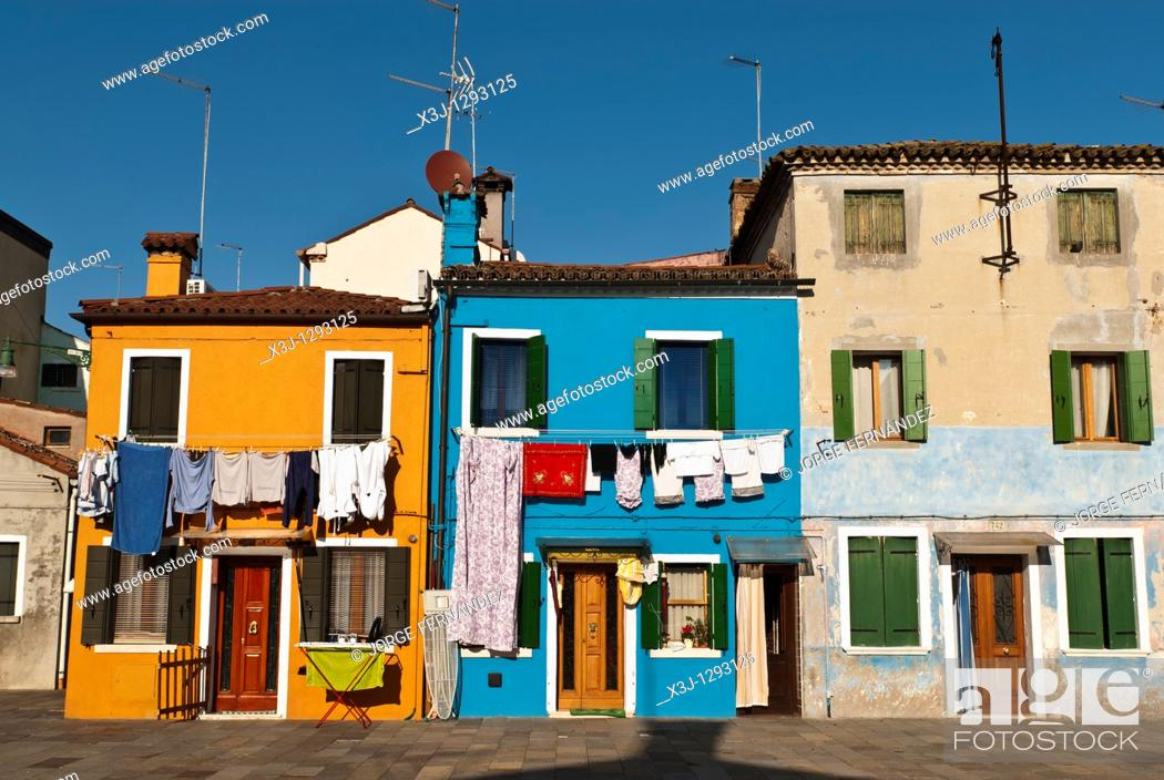 Stock Photo: Colourful houses of Burano Island, Veneto, Italy.