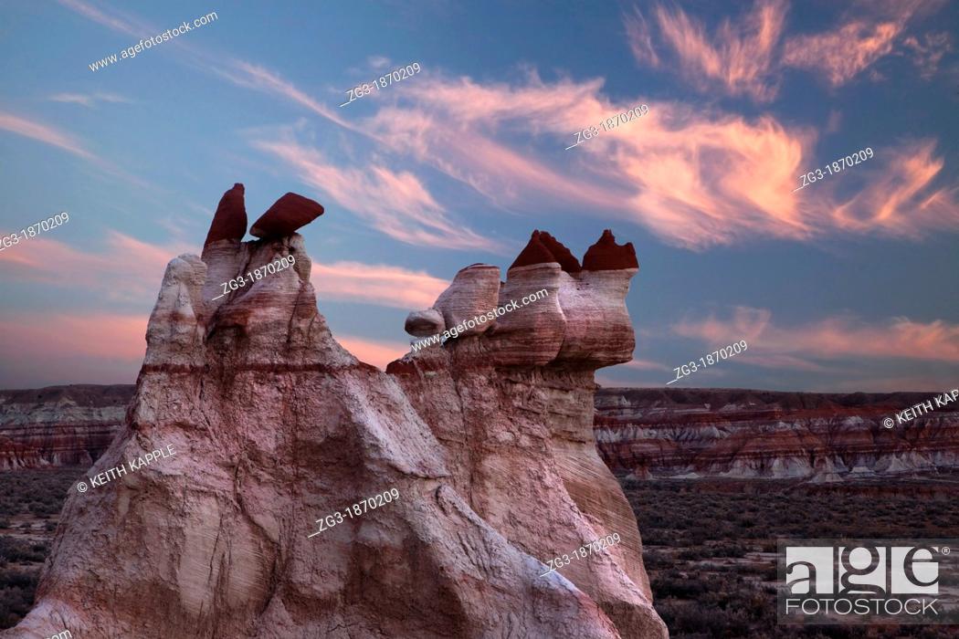 Stock Photo: Hoodoo Rock formations at Blue Canyon, Arizona - USA - Hopi Indian reservation Lands.