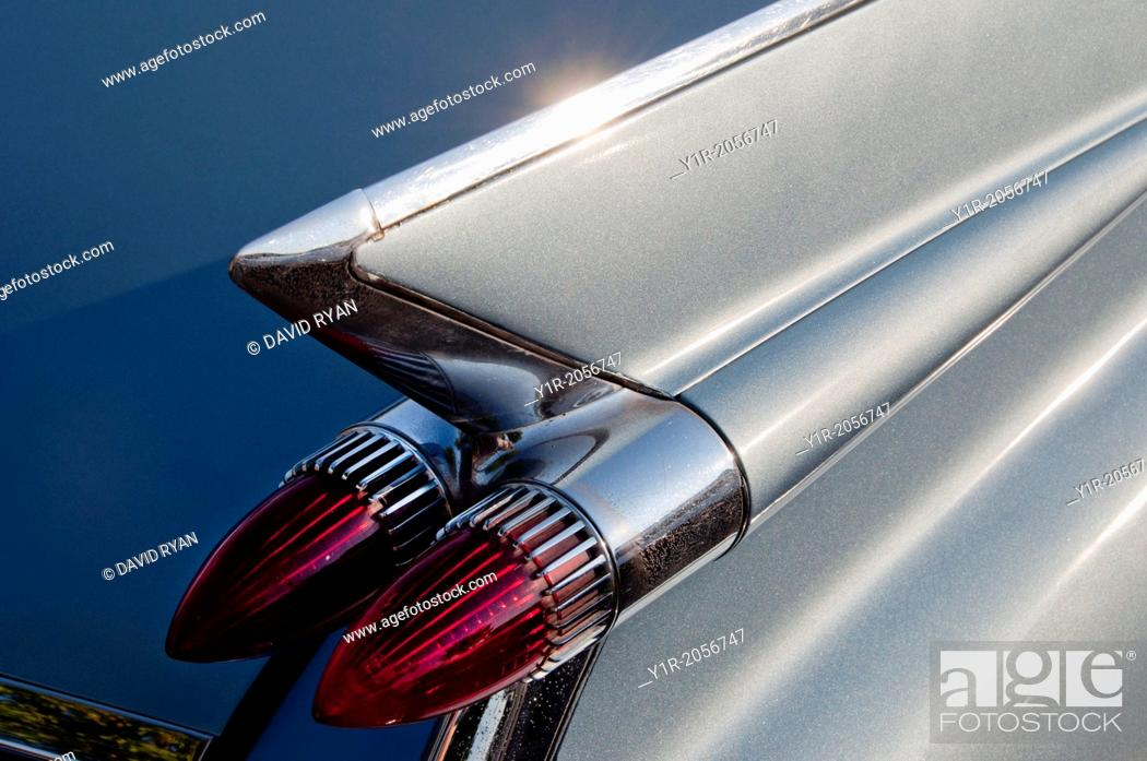 Stock Photo: Tail fins and tail lights of a 1959 Cadillac, 52 Series.