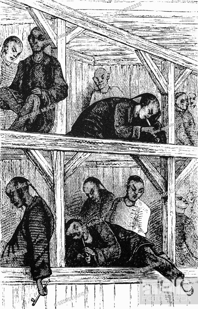 1879: Chinese Opium smokers in An opium Palace or Den, China