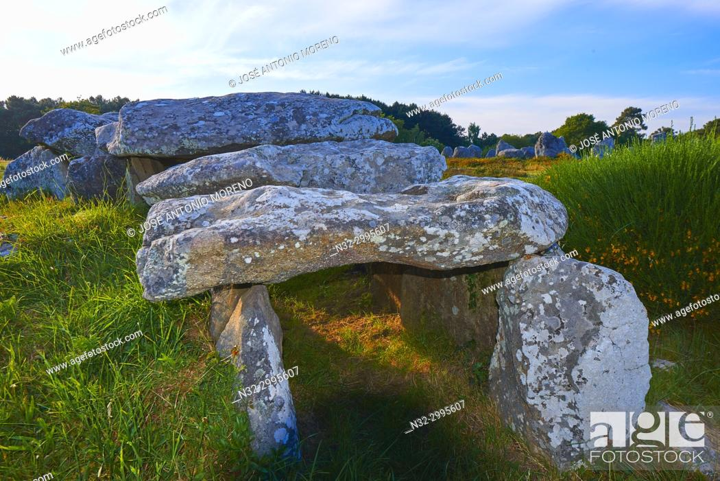Stock Photo: Carnac, Kermario alignment, Dolmen, Megalithic stones, Megalitic alignments, Morbihan, Bretagne, Brittany, France, Europe.