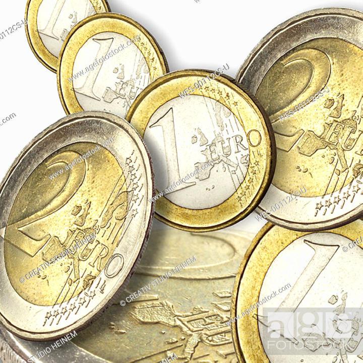 Stock Photo: euro coins.
