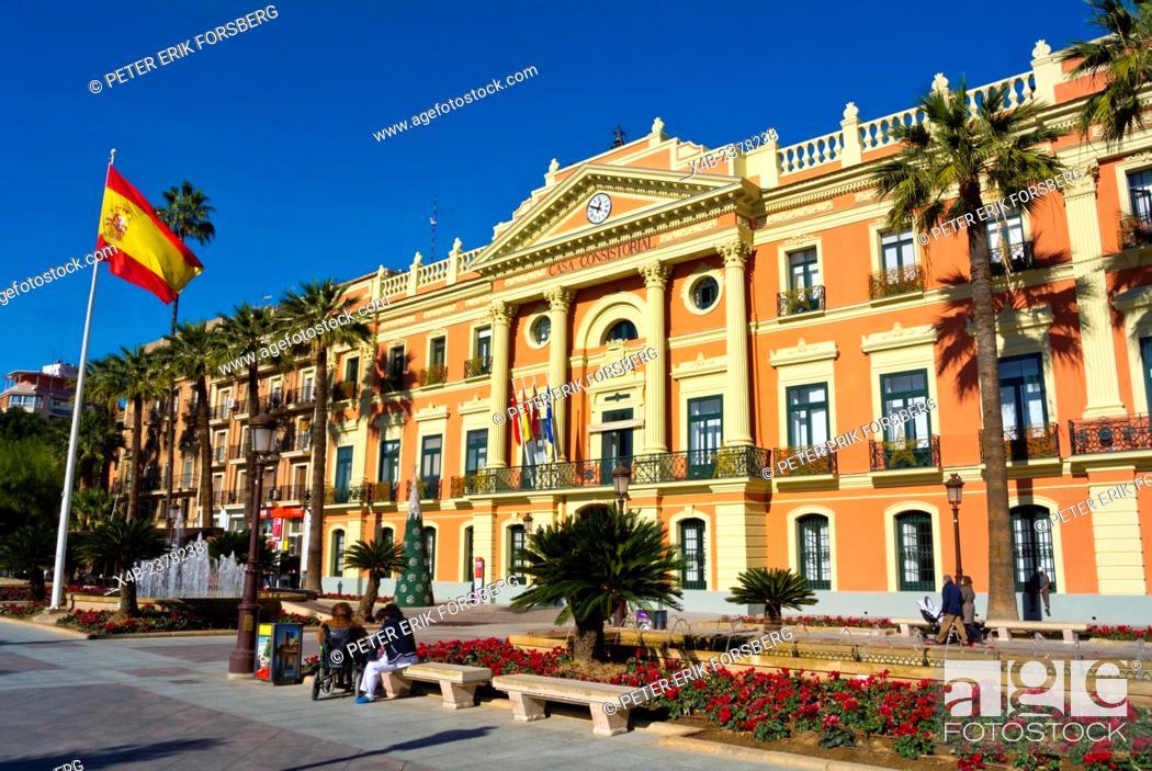 Stock Photo: Ayuntamiento De Murcia, town hall, Glorieta Espana square, Murcia, Spain.