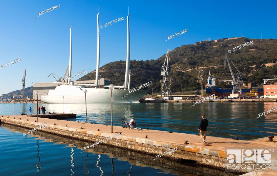 Stock Photo: Sailing Yacht A on background, Harbour, Promenade, Cartagena City, Murcia Region, Spain.