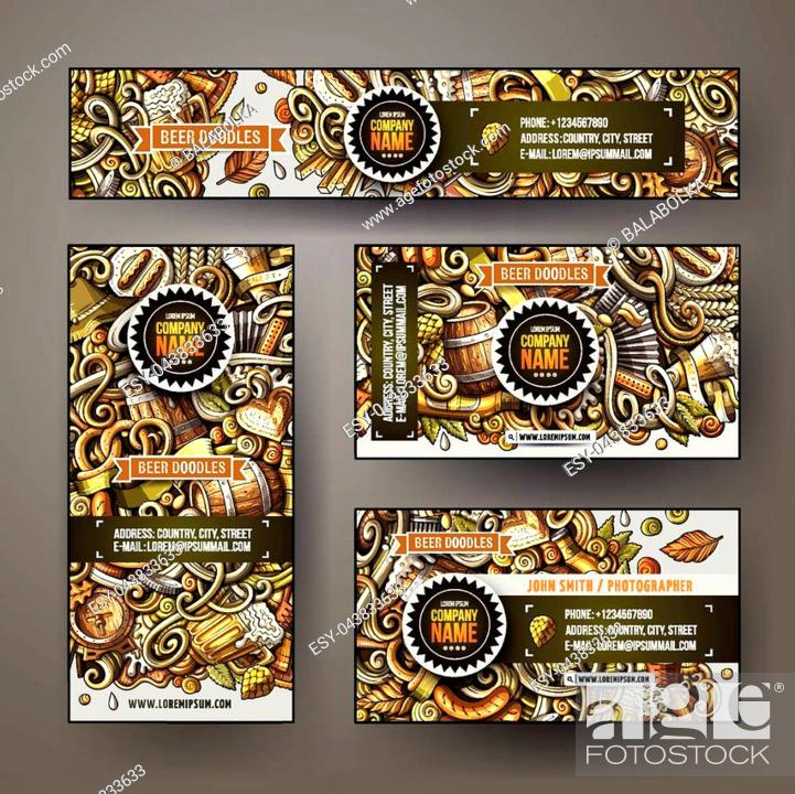Stock Vector: Cartoon colorful vector doodles Beer fest corporate identity set. Template design of banners, id cards, flyer.
