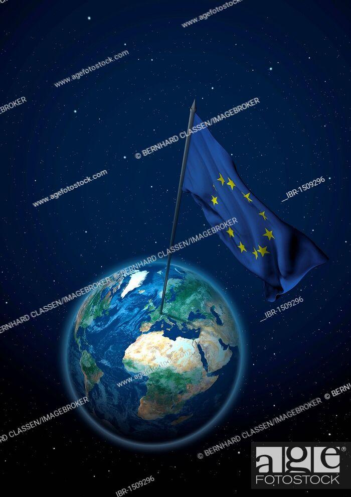 Imagen: Flag of the European Union set up on the globe.
