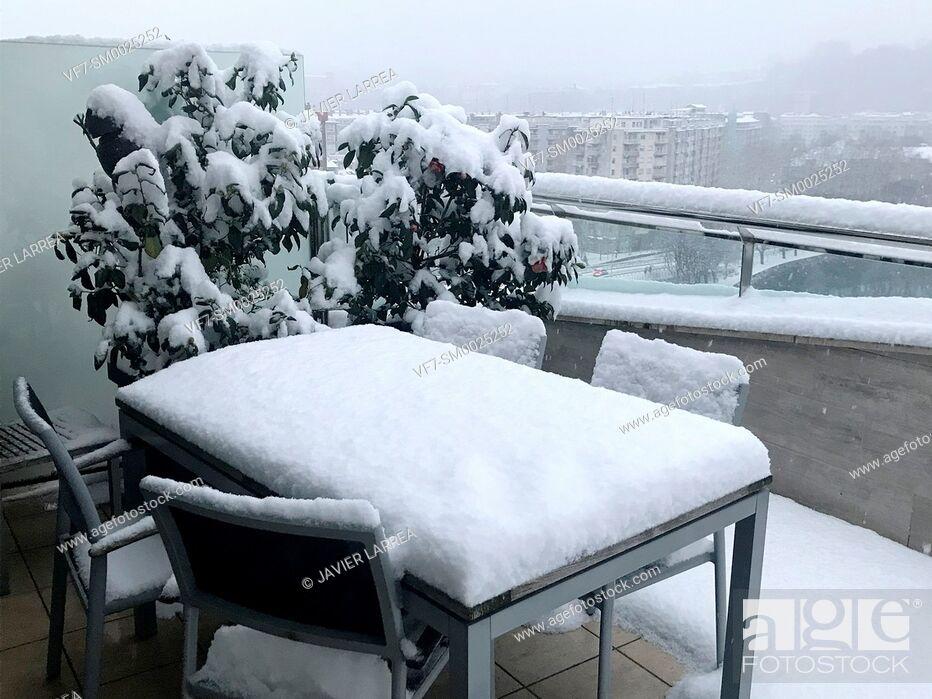 Stock Photo: Snowy terrace, Donostia, San Sebastian, Gipuzkoa, Basque Country, Spain , Europe.