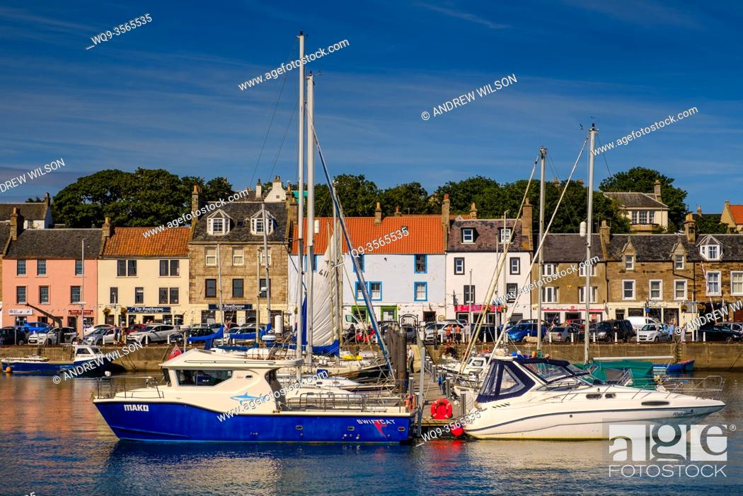 Stock Photo: Pleasure craft in the harbour in Anstruther, Fife, Scotland.