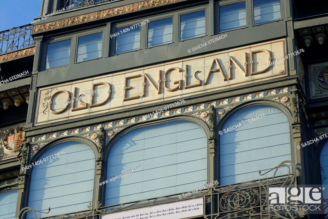 """Stock Photo: The lettering """"""""OLD ENGLAND"""""""" on the facade of the Musical Instrument Museum in the former """"""""Old England"""""""" department store on the Hofberg in the Belgian."""