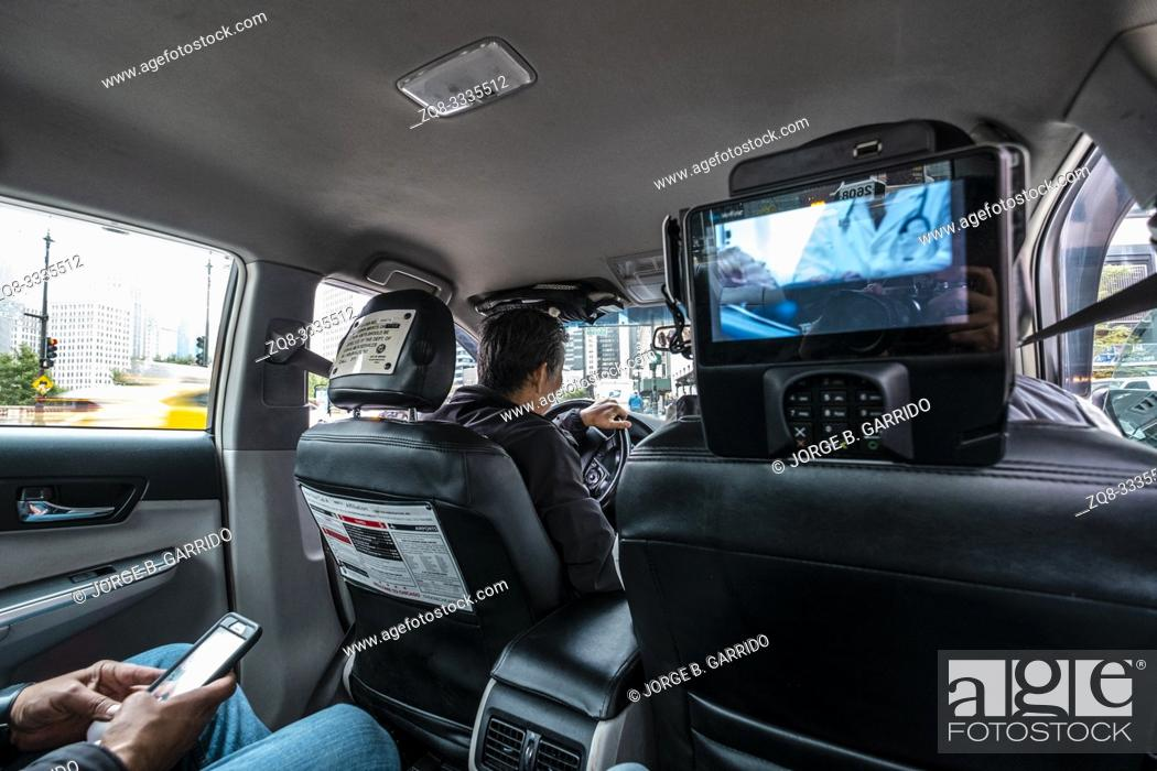 Stock Photo: Taxi interior, Chicago.