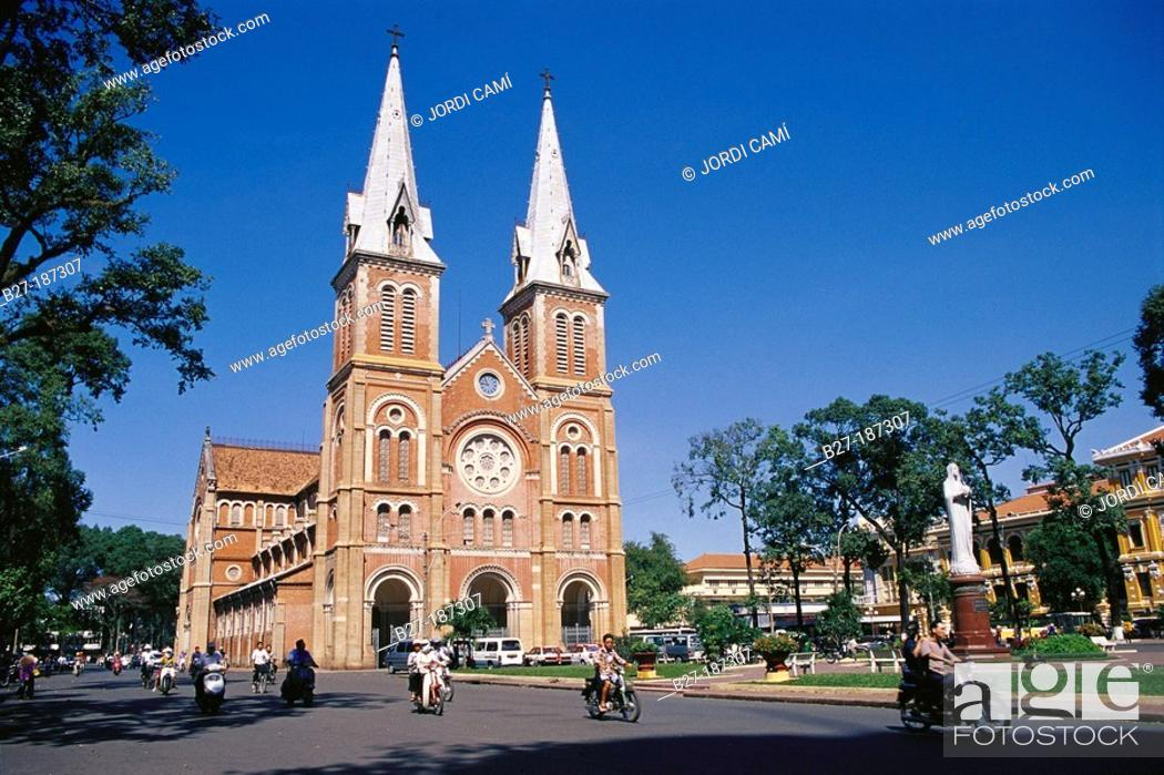 Stock Photo: Notre Dame Cathedral, built by the french between 1877 and 1883. Ho Chi Minh City. Vietnam.