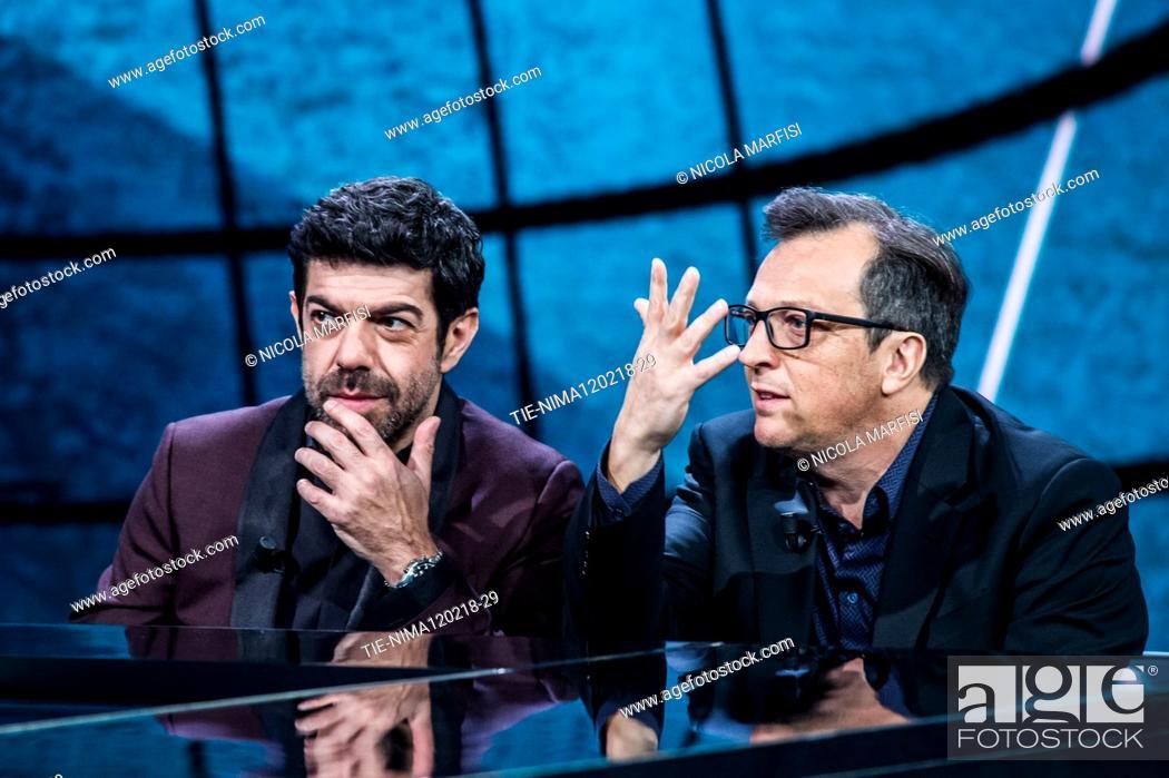 Imagen: The actor Pierfrancesco Favino, the director Gabriele Muccino during the tv show Che tempo che fa, Milan, ITALY-11-02-2018.