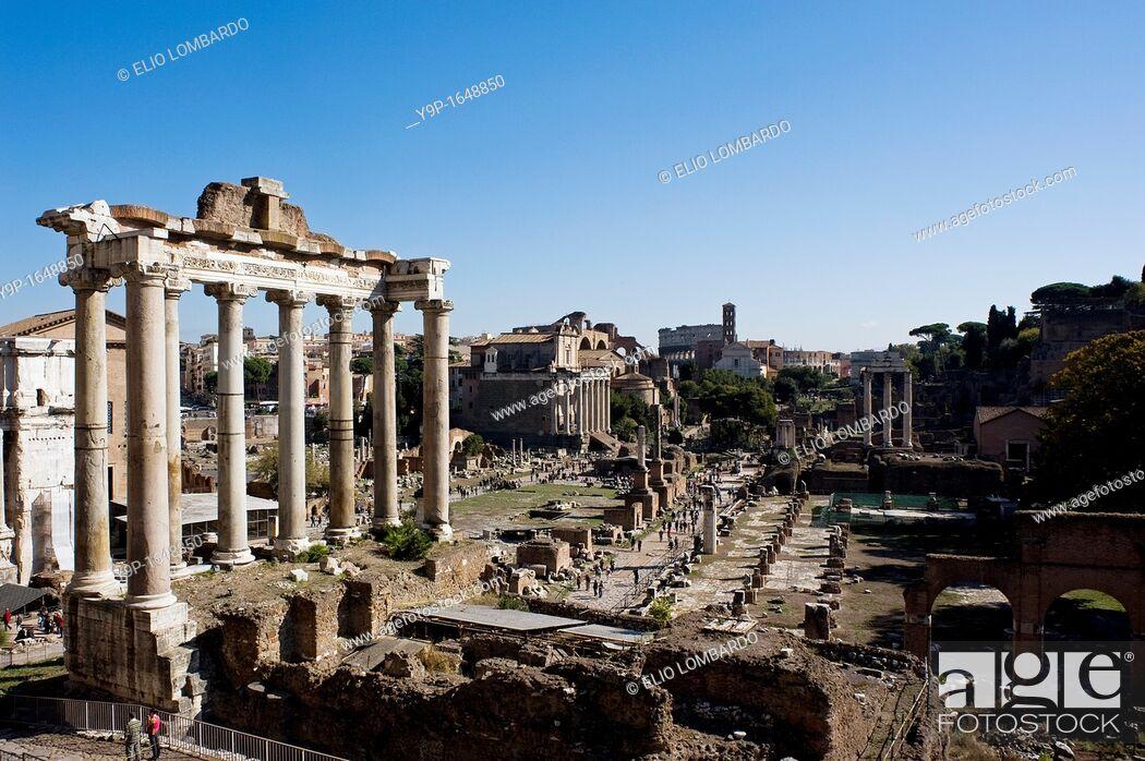 Stock Photo: Temple of Saturn, Roman Forum, Rome, Latium, Italy.