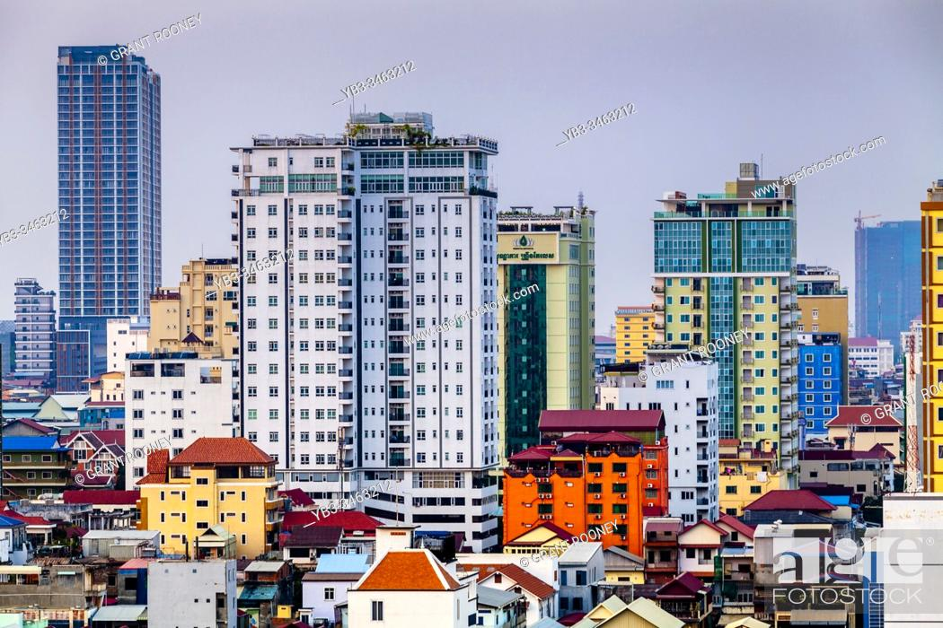 Stock Photo: An Elevated View Of The Phnom Penh Skyline, Phnom Penh, Cambodia.