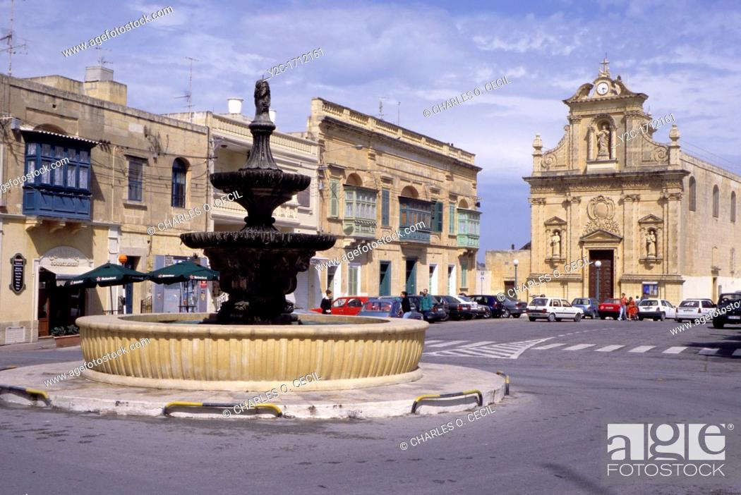 Stock Photo: Victoria, Gozo  - St  Francis Square, Church , and Fountain.