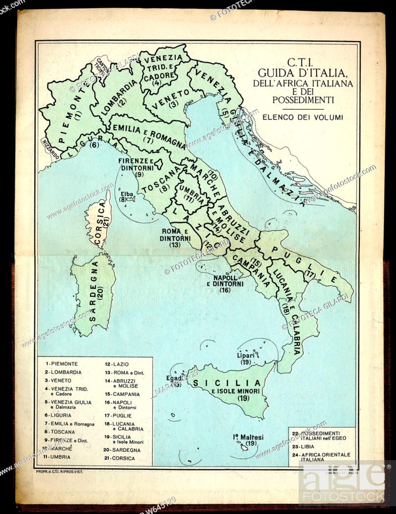 Cartina Dell Africa Orientale.Cartografia Cartina Dell Italia Divisa In Regioni Dalla