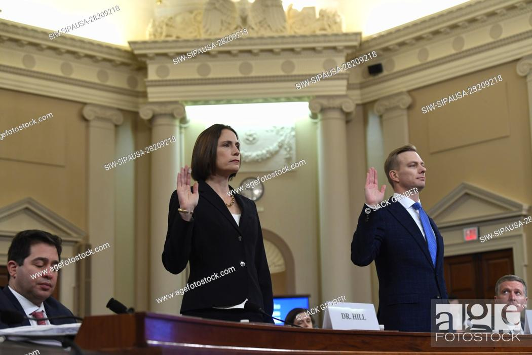 Stock Photo: Nov 21, 2019; Washington, DC, USA; National Security Council official Fiona Hill and State department official David Holmes testify before the Permanent Select.