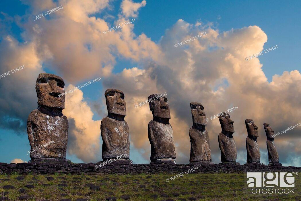 Stock Photo: Ceremonial moai, Akivi, Easter Island.