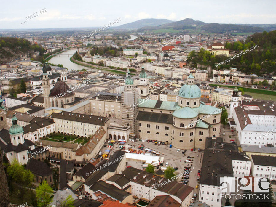 Stock Photo: View of Salzburg including Dom St. Rupert, as seen from Festung Hohensalzburg (castle), Salzburg, Austria.