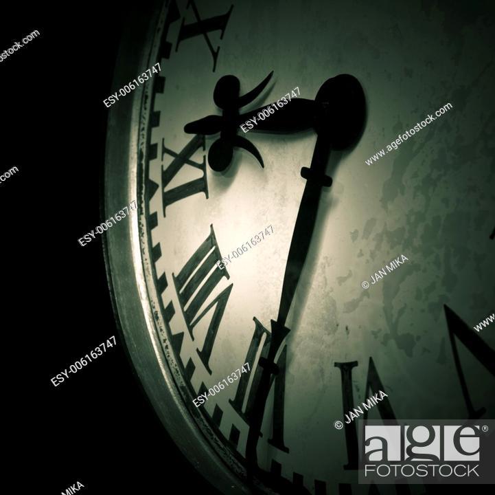 Stock Photo: Abstract dark clock detail background.