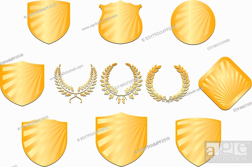 Stock Vector: Collection of shields and wreaths.