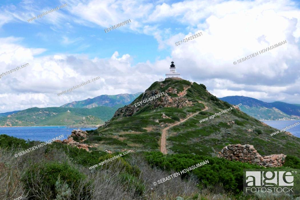 Stock Photo: Holidays in southern Corsica..Discovery of the Sanguinaires Islands, next to the city of Ajaccio.