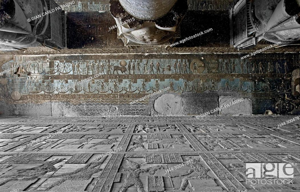 Stock Photo: Dendera Egypt, temple dedicated to the goddess Hathor. View of ceiling and columns before cleaning.