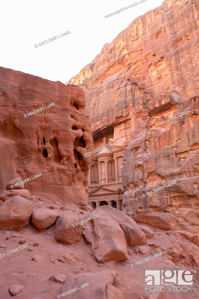 Stock Photo: View from Siq on entrance of City of Petra, Jordan.