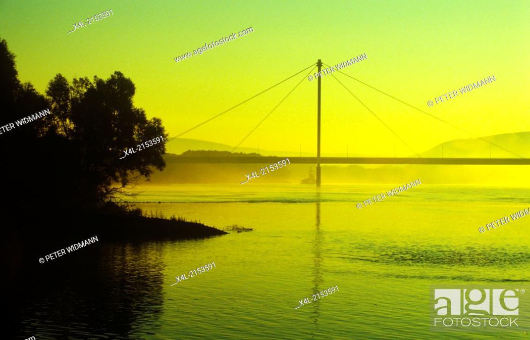 Stock Photo: danube bridge near Hainburg, Austria, Lower Austria, NP Danube-March, Hainburg.