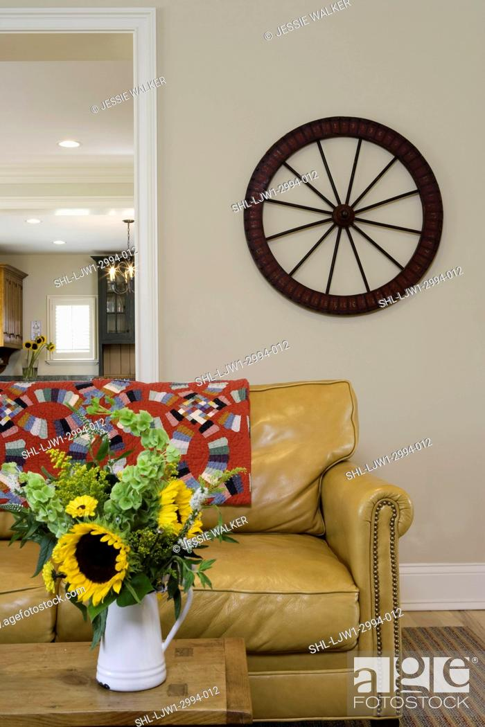 LIVING ROOMS: modern country , palomino colored leather sofa ...