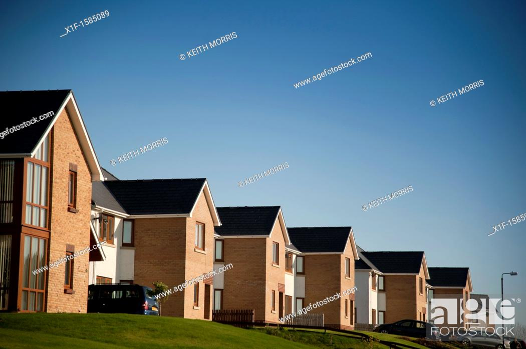 Stock Photo: a row of 'executive' detached houses on a private estate, Aberystwyth Ceredigion Wales UK.