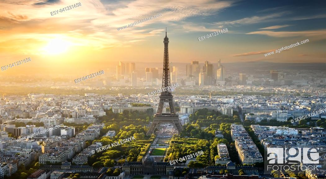 Stock Photo: Aerial view on Eiffel Tower and district la Defense in Paris, France.