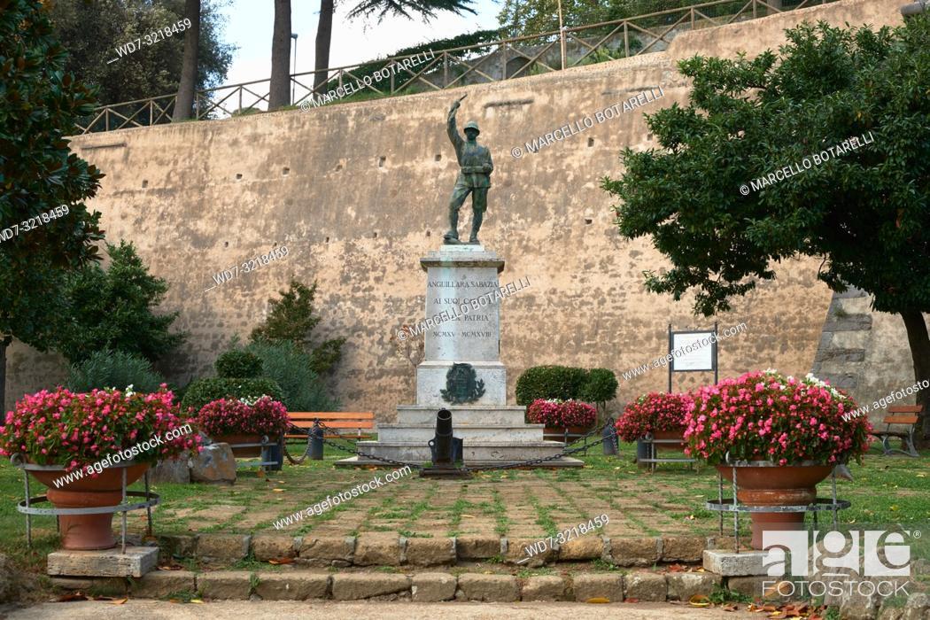 Stock Photo: monument to the fallen in Anguillara Sabazia, a small town in Lazio, near Rome, Italy.