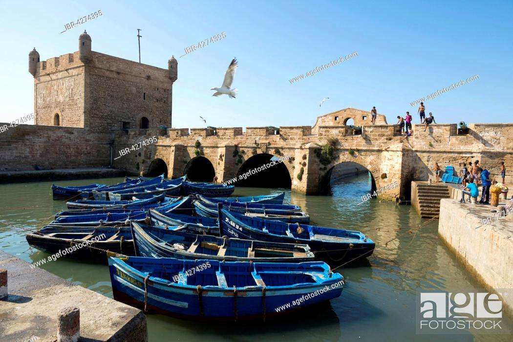 Stock Photo: Blue fishing boats in the harbour, Essaouira, Morocco.