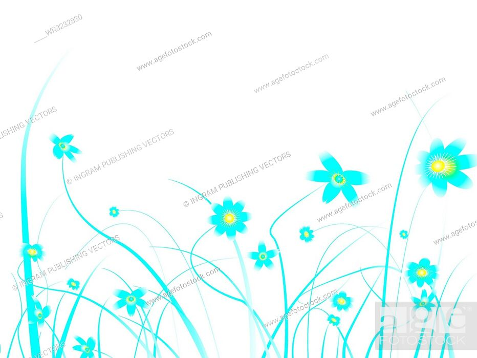 Vector: Floral background design with subtle blue colours and blank space to add your own text.