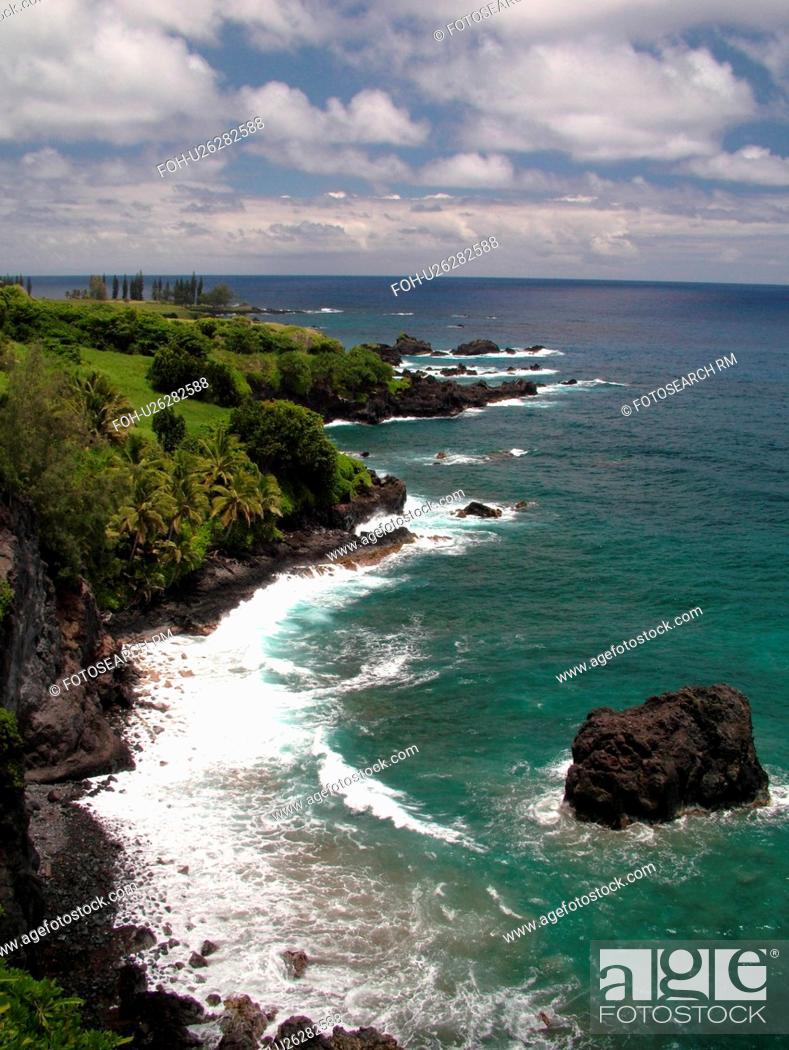 Stock Photo: Hana Highway, Maui, HI, Hawaii, Hana Coast, Highway 360, East Maui, North Shore, Hamoa Beach.