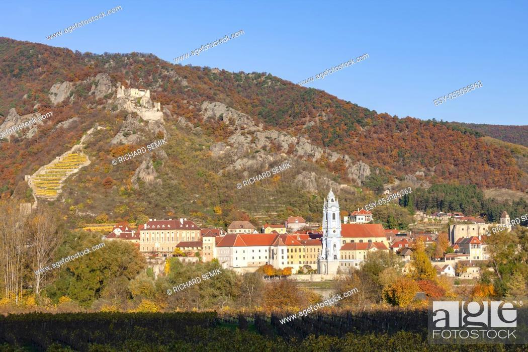 Stock Photo: Durnstein on the Danube River in Wachau Valley, Austria.