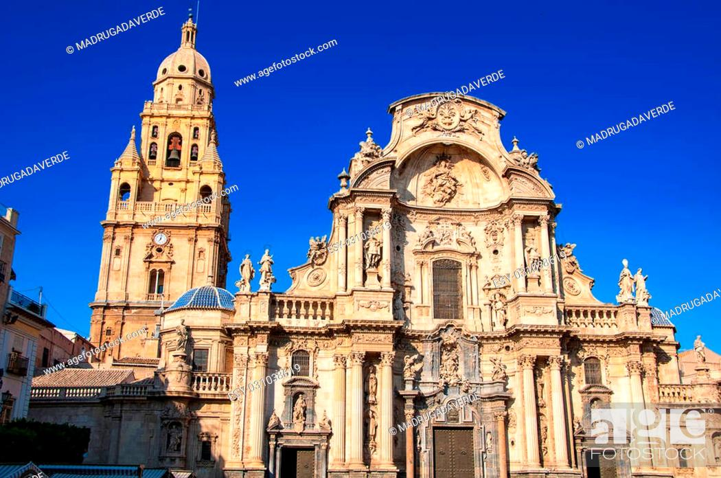 Stock Photo: Main facade of the Cathedral Church of Saint Mary in Murcia, Spain. Landmark of the city.
