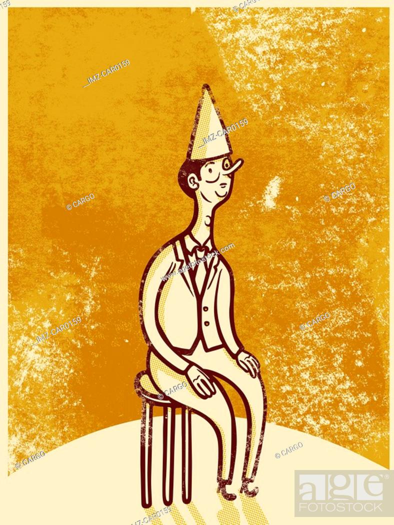 Stock Photo: Drawing of a man wearing a dunce cap while sitting on a stool.