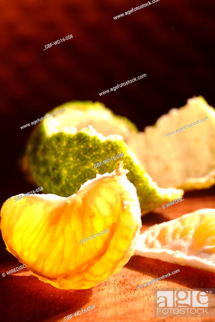Stock Photo: Food, fruit, tangerine.