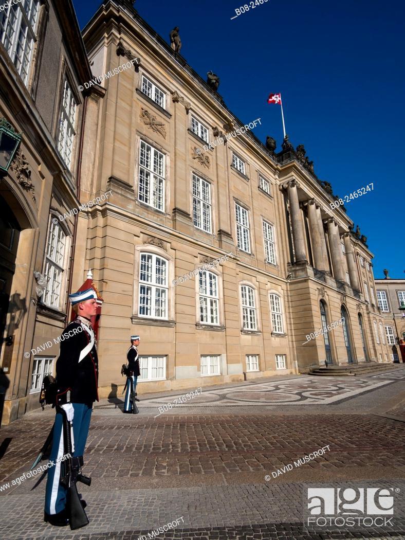 Stock Photo: ceremonial guards outside The Amelienborg Palace,Copenhagen,Denmark.