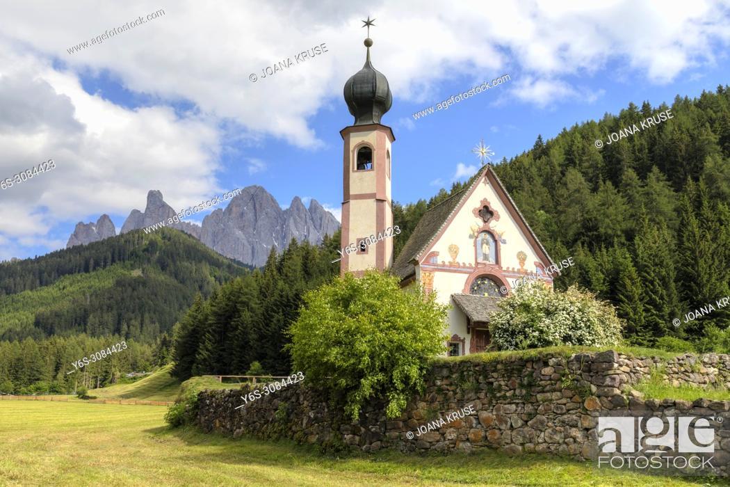Stock Photo: Chiesetta di San Giovanni, Ranui, Dolomites, Trentino, Alto Adige, Italy, Europe.