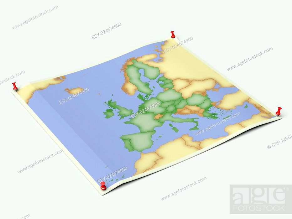 Stock Photo: European Union on unfolded map sheet.