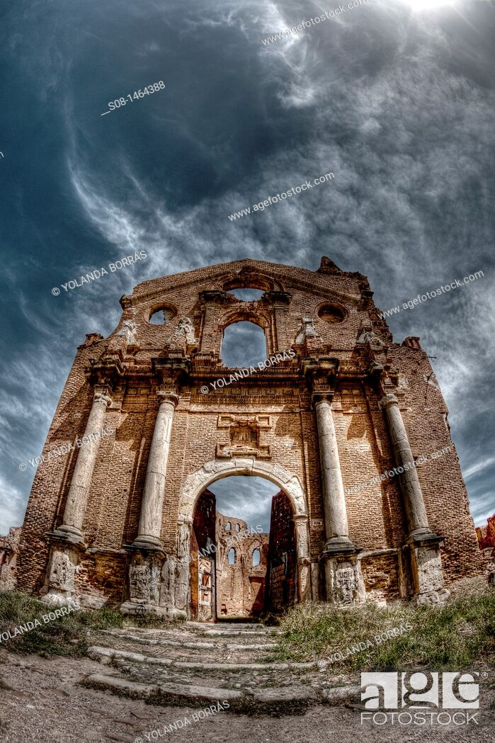 Stock Photo: Belchite City, Old Belchite, ruins of the town destroyed during the civil war, Aragon, Zaragoza Province, Spain, Europe.