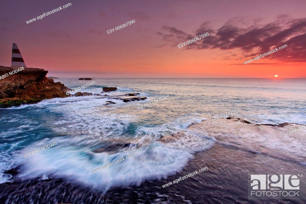 Stock Photo: Sunset over Pacific Ocean , Australia.
