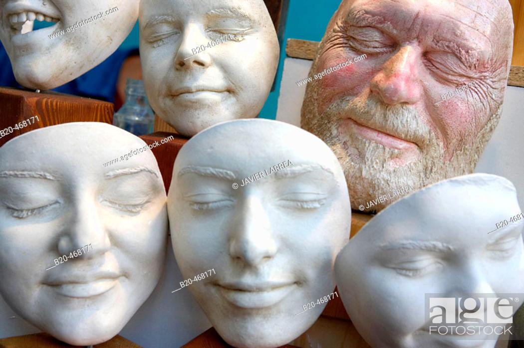 Stock Photo: Covent Garden Market masks. London. England. UK.