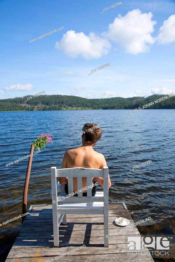Stock Photo: Holiday at summer cottage,family and relatives North of Sweden.