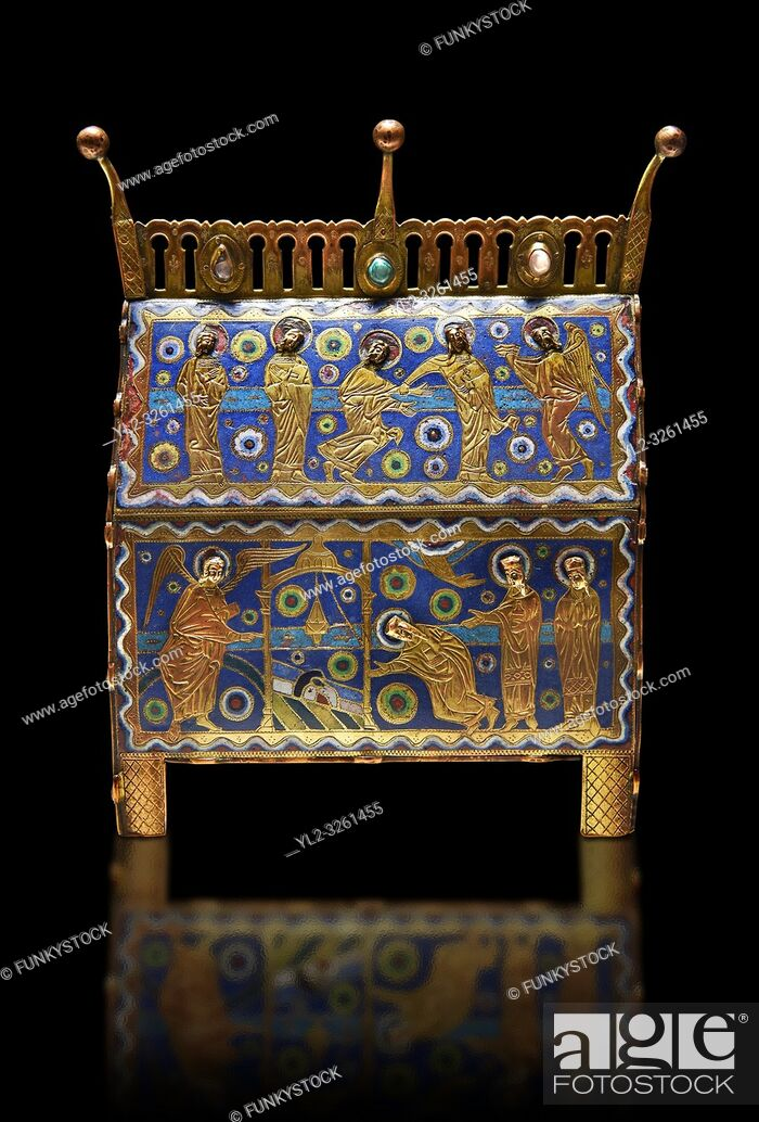 Stock Photo: Gothic chest decorated with the Resurection of Christ from Limoges Circa 1220. Engraved copper with inlaid enamel enamel champlevé and glass on wooden core.